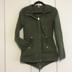 H&M DIVIDED loden green canvas jacket size 2